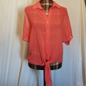 Light orange/peachy blouse cold-shoulder